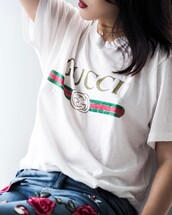 t-shirt,logo tee,tumblr,gucci,logo,white t-shirt,jeans,denim,embroidered,embroidered jeans,necklace,gold necklace,jewels,jewelry,gold jewelry,gold choker,choker necklace,gucci t-shirt
