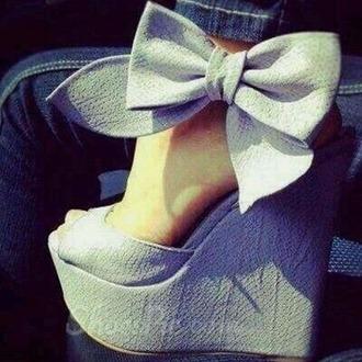 shoes jeans noeud blue high heels wedges
