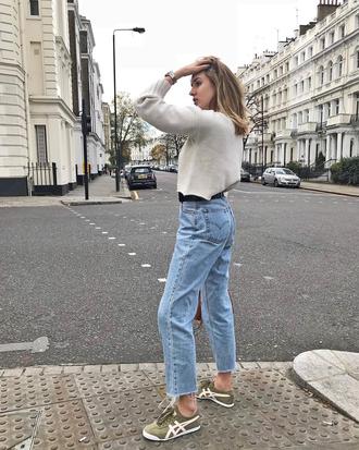 sweater cropped sweater cropped knit knitwear knitted sweater denim jeans blue jeans sneakers