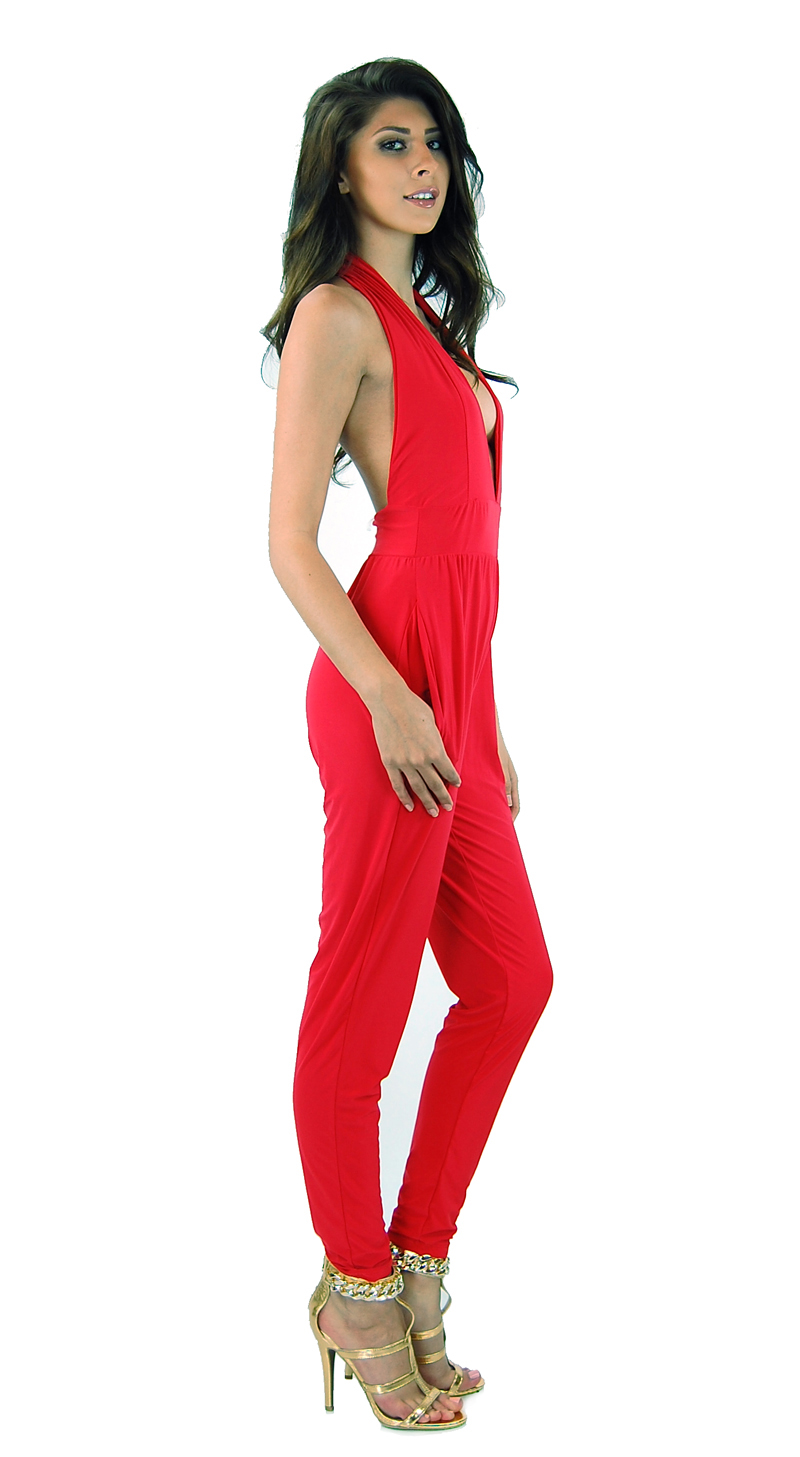 Style Creek Women's Fashion Plunging Halter comfy jumpsuit Romper 4 Colors 10749
