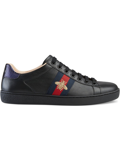 embroidered women sneakers leather black shoes