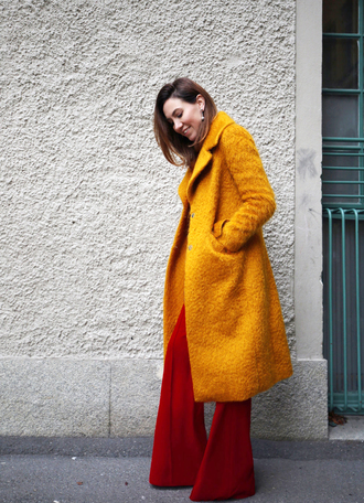 coat tumblr yellow yellow coat pants red pants wide-leg pants fall coat fall colors