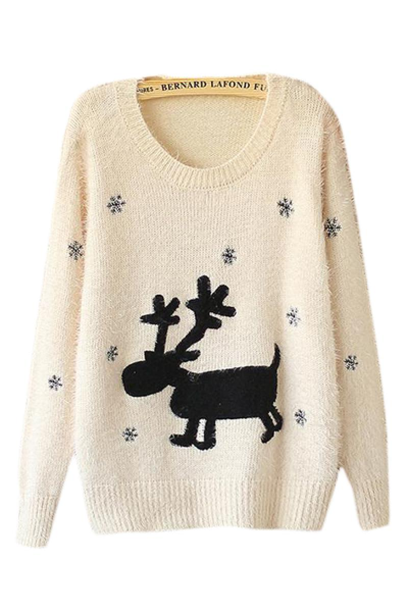 Christmas Snowflake Deer Embroidery Mohair Pullover Knitwear,Cheap in Wendybox.com