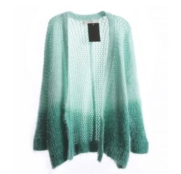 cardigan knitted cardigan ombre sweater green sweater