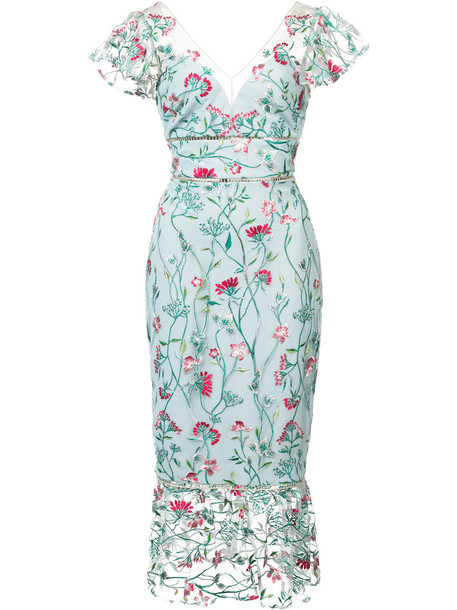 Marchesa Notte dress midi dress embroidered women midi floral blue