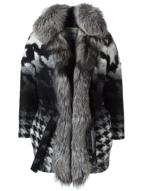 AVA ADORE coat fur fox women wool grey