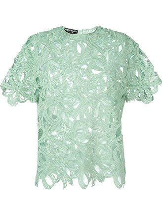 top embroidered floral green