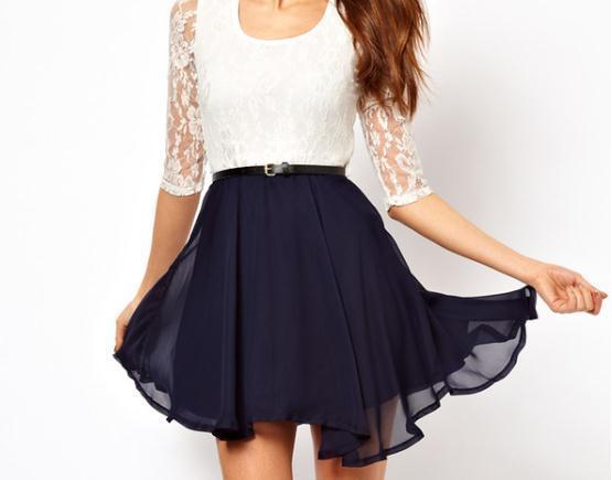 Lace chiffon dress / fanewant