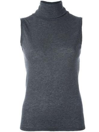 blouse sleeveless knit women grey top