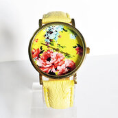 jewels,watch,vintage,handmade,etsy,freeforme,fashion,style,floral,yellow