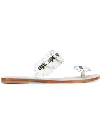 women sandals leather white shoes