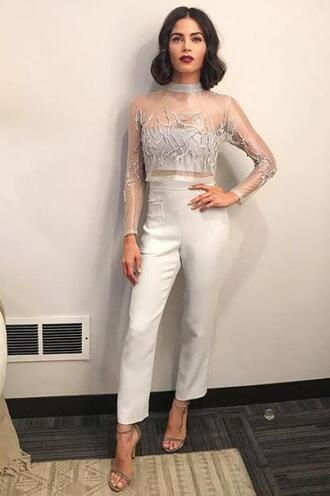 shoes pants top crop tops see through see through top jenna dewan white silver