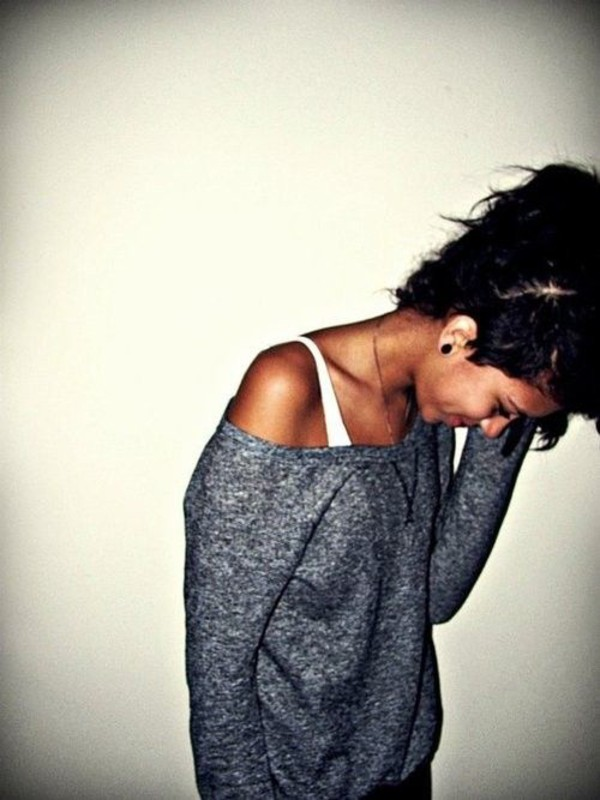 charcoal grey clothes sweater off the shoulder