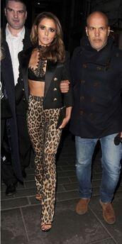 pants,animal print,leopard print,cheryl cole,bralette,lace bralette,lace bra,underwear,bra,sexy,jacket,blazer,sandals