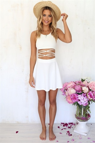 dress white short mini dress backless strapped dress