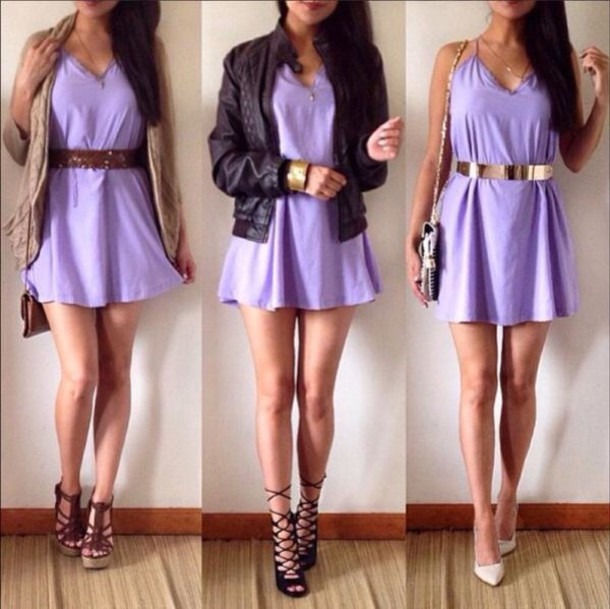 dress purple cardigan