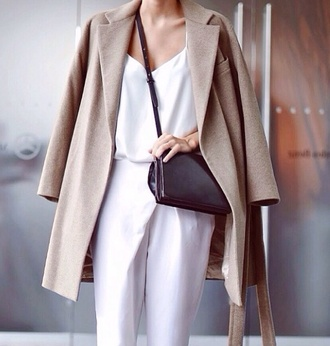 coat beige spring outfits one piece white fashion blogger spring summer outfits tumblr haute couture jumpsuit white jumpsuit black bag beige coat