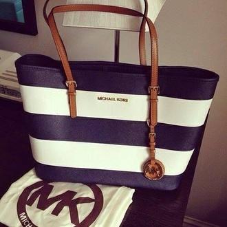 bag michael kors navy summer bag blue and white bag michael kors bag stripes make-up micheal kors bag tumblr girl tumblr outfit blue bag white bag