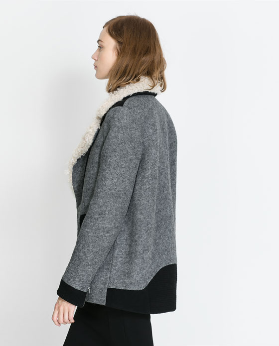 Grey Fur Lapel Long Sleeve Zipper Coat - Sheinside.com