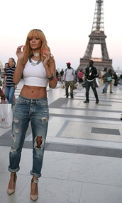 tank top,crop tops,white,rihanna,ripped boyfriend jeans,nude heels,court shoes,jeans,jewels,shoes