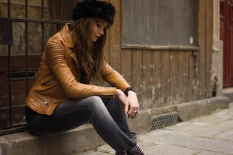 mahayanna blogger brown leather jacket fur hat