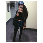 hat,blue,nike,swag,india westbrooks,all black everything,blouse,nike cap,high4this,jeans,black jeans,black t-shirt,crop tops,sweater