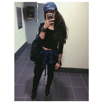 hat blue nike swag india westbrooks all black everything blouse nike cap high4this jeans black jeans black t-shirt crop tops sweater