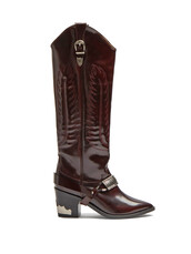 high,leather boots,leather,burgundy,shoes