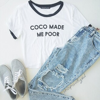 t-shirt chanel inspired chanel chanel t-shirt coco chanel shirt coco made me do it chanel coco made me do it tee jeans