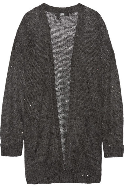 Karl Lagerfeld - Sequin-embellished Knitted Cardigan - Charcoal