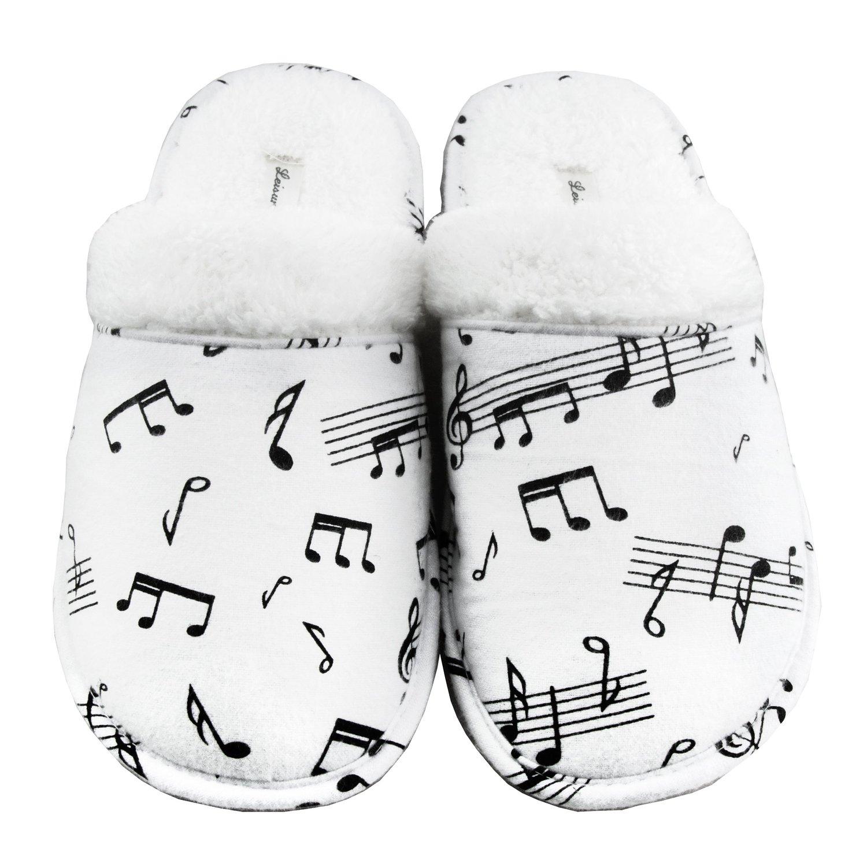 Amazon.com: leisureland women's cotton flannel cozy slippers music notes: shoes