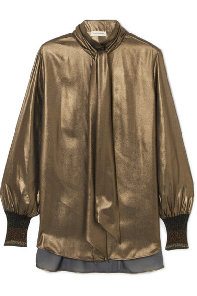By Malene Birger blouse bow gold top