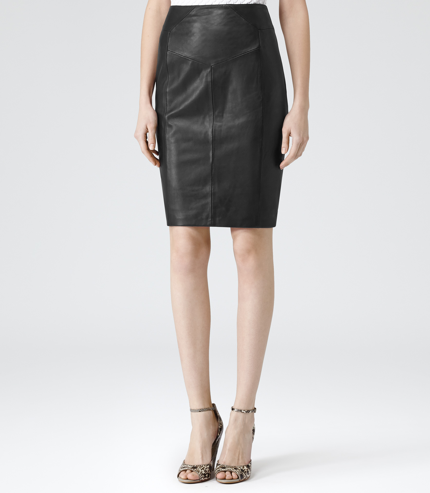 Ruby Black Leather Pencil Skirt - REISS