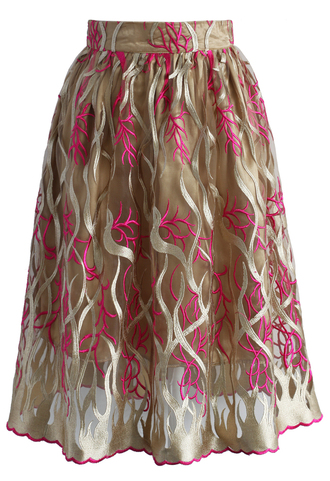 skirt midi skirt embroidered skirt ocean brown