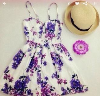 hat girly top skirt dress purple dress flower skater skirt
