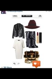 dress,white dress,longline,oversized,t-shirt dress,boots,black,black leather boots,peep toe,knee high boots,hat,burgundy,trilby,leather jacket,jacket,shoes