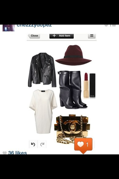 dress black oversized jacket leather jacket white dress longline t-shirt dress boots black leather boots peep toe knee high boots hat burgundy trilby shoes