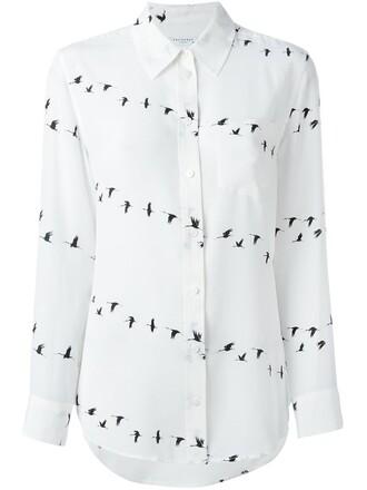 shirt birds print white top