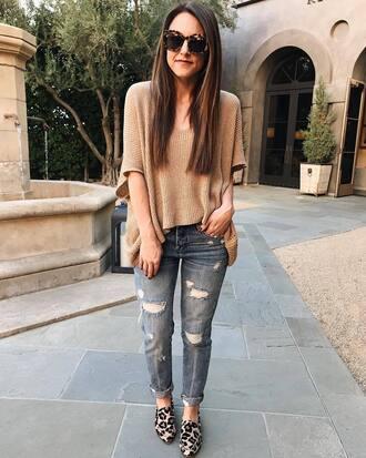 sweater beige sweater jeans blue jeans shoes