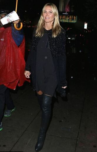boots knee high boots heidi klum cardigan