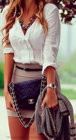 white blouse necklace tan skirt tight skirt Belt purse dress tan white skirt fashion date classy blouse