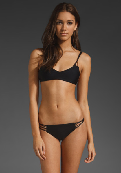 Mikoh Swimwear Kona String Racerback Top in Black (jet set) | Lyst