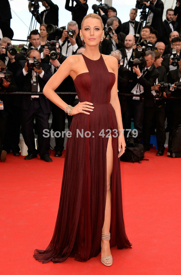 Aliexpress.com : Buy 2014 Fashion Halter Dark Red Side Slit Wrinkled Chiffon Blake Lively Cannes Red Carpet Celebrity Evening Dress Long from Reliable dress spaghetti suppliers on 27 Dress