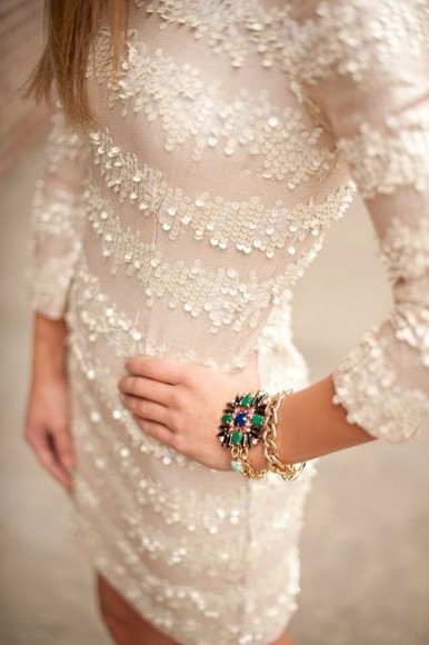 sequins beaded classy dress white dress white bodycon dress sequined stripes
