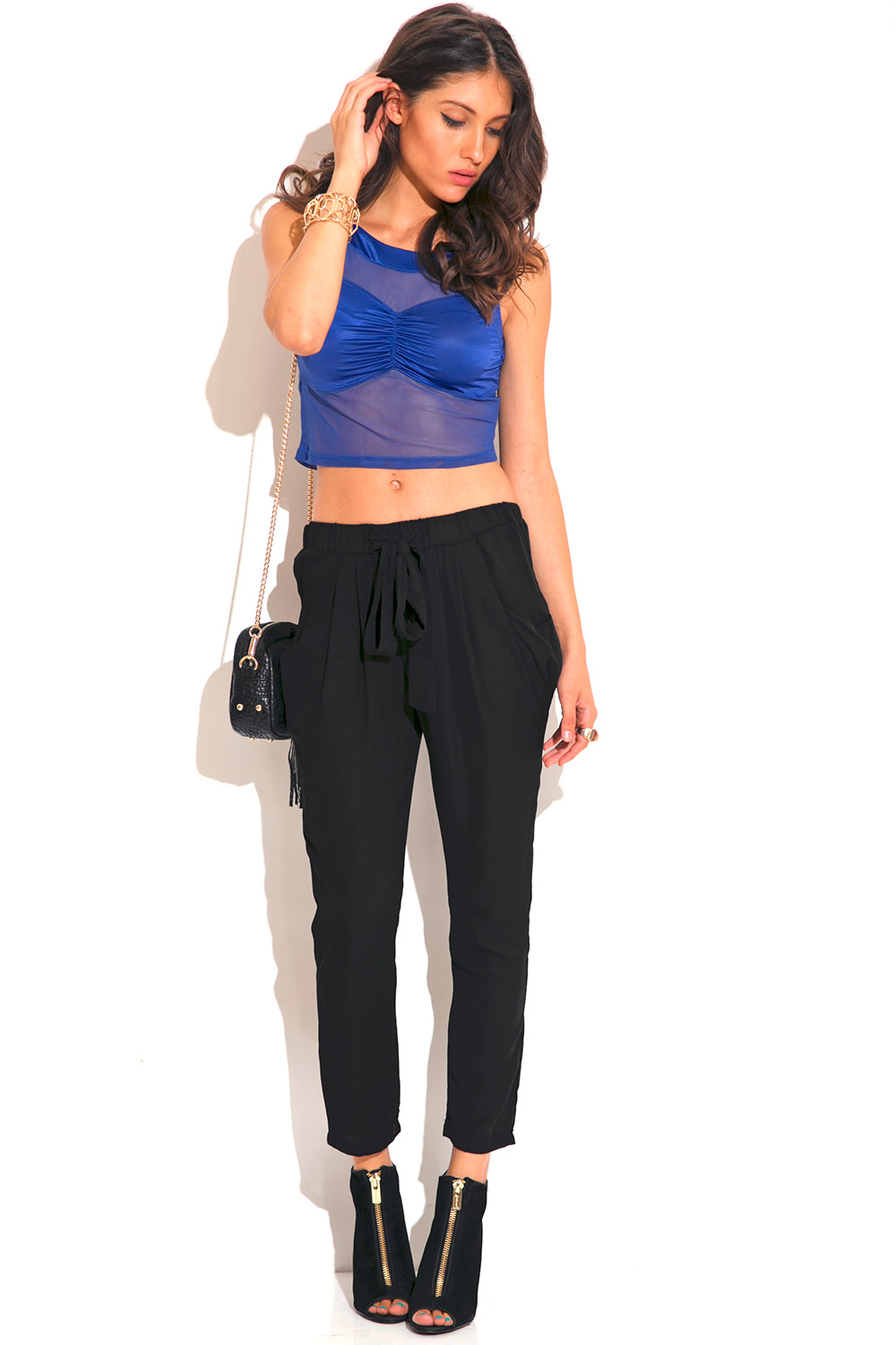 Black crepe bow tie harem suiting pants
