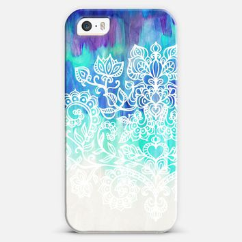 Indigo & Aqua Abstract with White Doodle iPhone 5s case by Micklyn Le Feuvre | Casetify on Wanelo