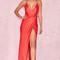 Clothing : max dresses : 'audreyana' red satin wrap maxi dress