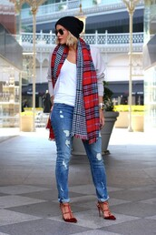 the courtney kerr,blogger,sunglasses,tartan scarf,ripped jeans,studded shoes,beanie,sweater,jeans,shoes,scarf,hat,jewels