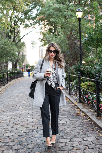the corporate catwalk blogger blouse jacket sunglasses bag office outfits fall outfits