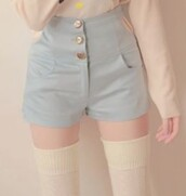 shorts,light,pastel,pastel blue,girly,cute,blue,High waisted shorts
